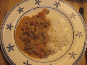 enkel köttgryta med ris